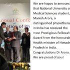 Congratulation Dr Arora