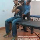 Dr Pourgol teaching osteopathy in Madrid, Spain