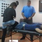 Dr Shahin Pourgol teaching osteopathic knee osteoarticular techniues to NUMSS students-2014