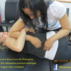 NUMSS student Mary from the Philippines attending the osteopathy practical technique classes of August 2014 in Madrid