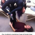 Our students practicing Yoga at break time
